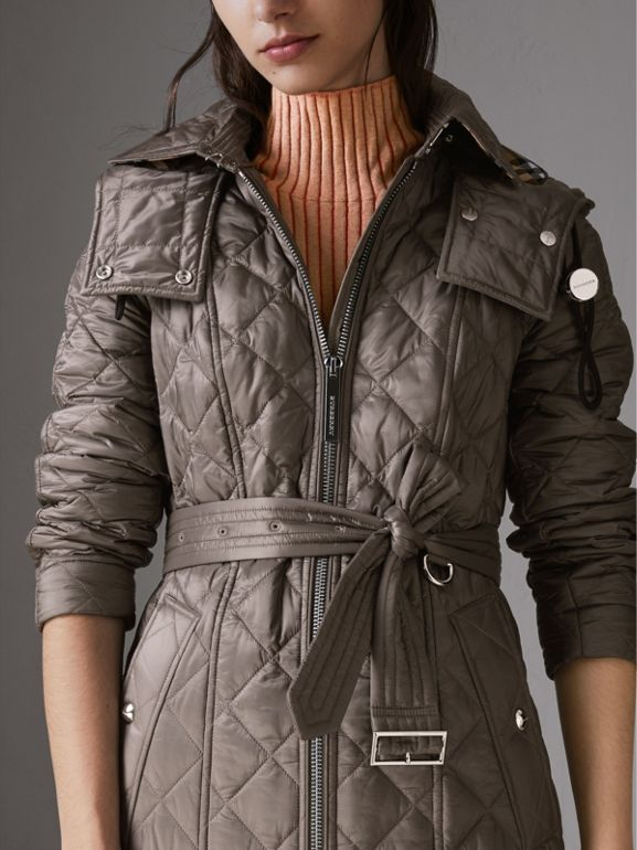 Detachable Hood Lightweight Diamond Quilted Coat in Mink Grey - Women | Burberry - cell image 1