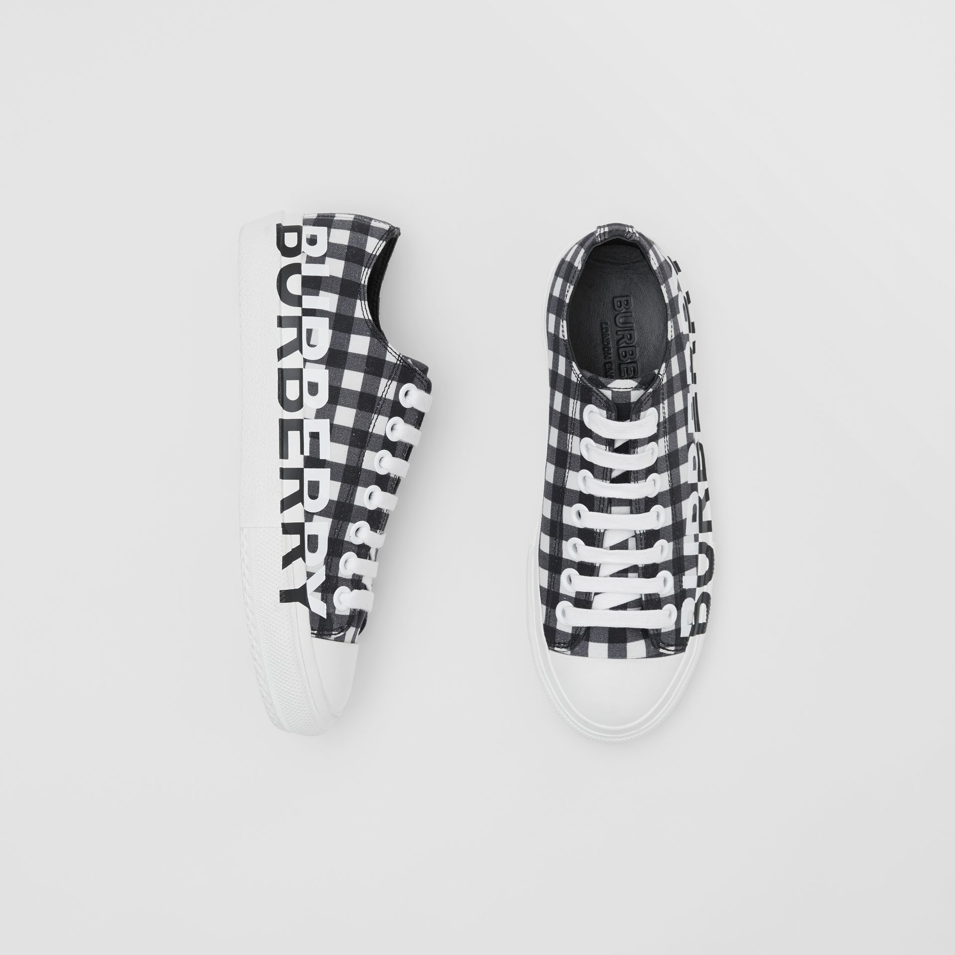 Logo Print Gingham Cotton Sneakers in Black/white - Women | Burberry - gallery image 0