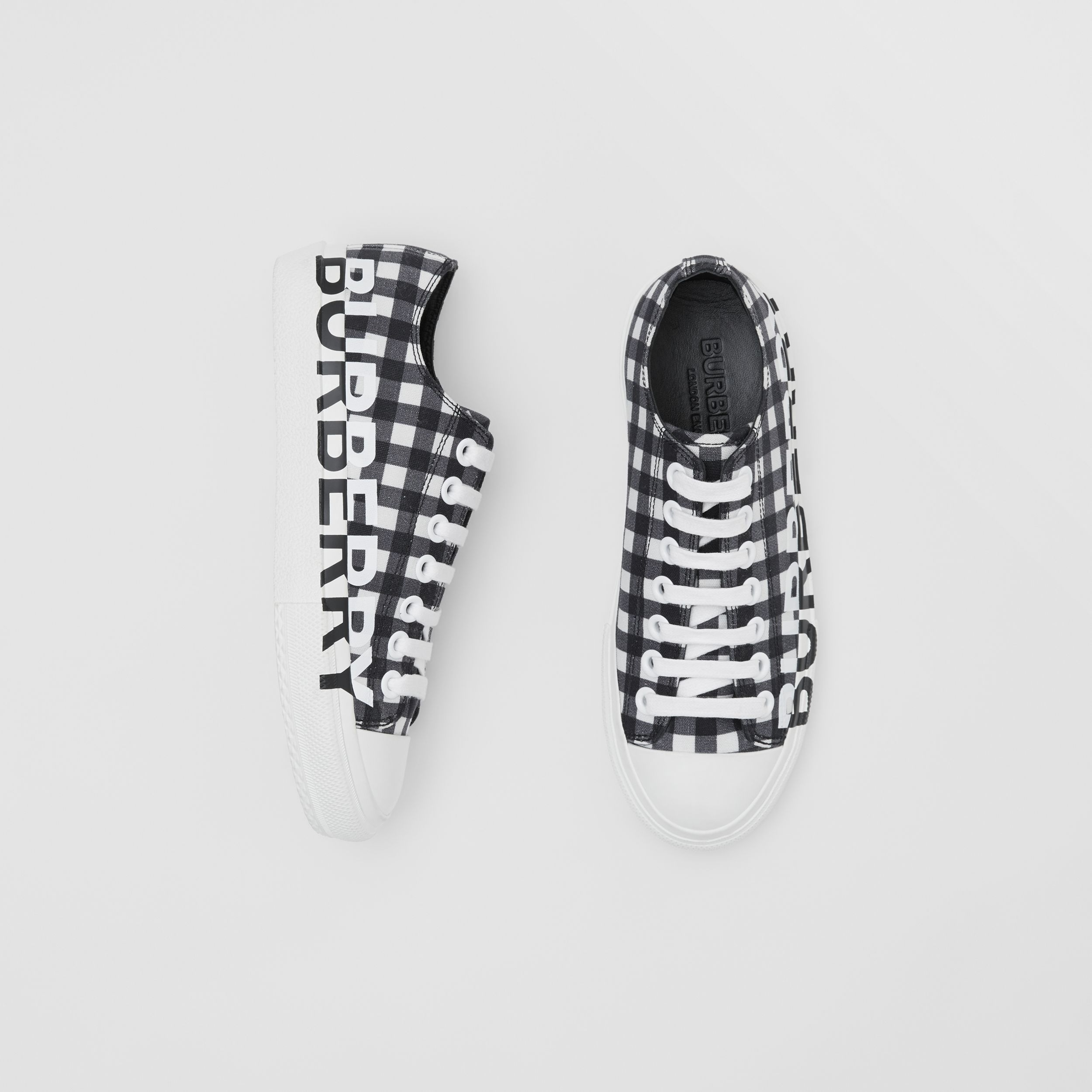 Logo Print Gingham Cotton Sneakers in Black/white - Women | Burberry - 1