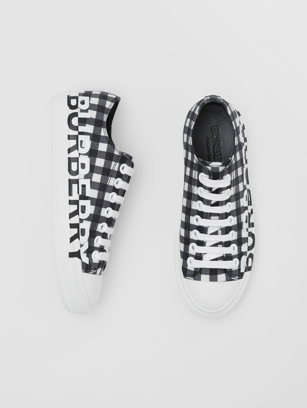 Logo Print Gingham Cotton Sneakers in Black/white