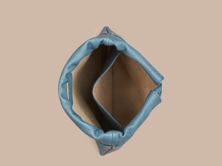 Dusty teal Grainy Leather Drawstring Pouch Dusty Teal - cell image 1