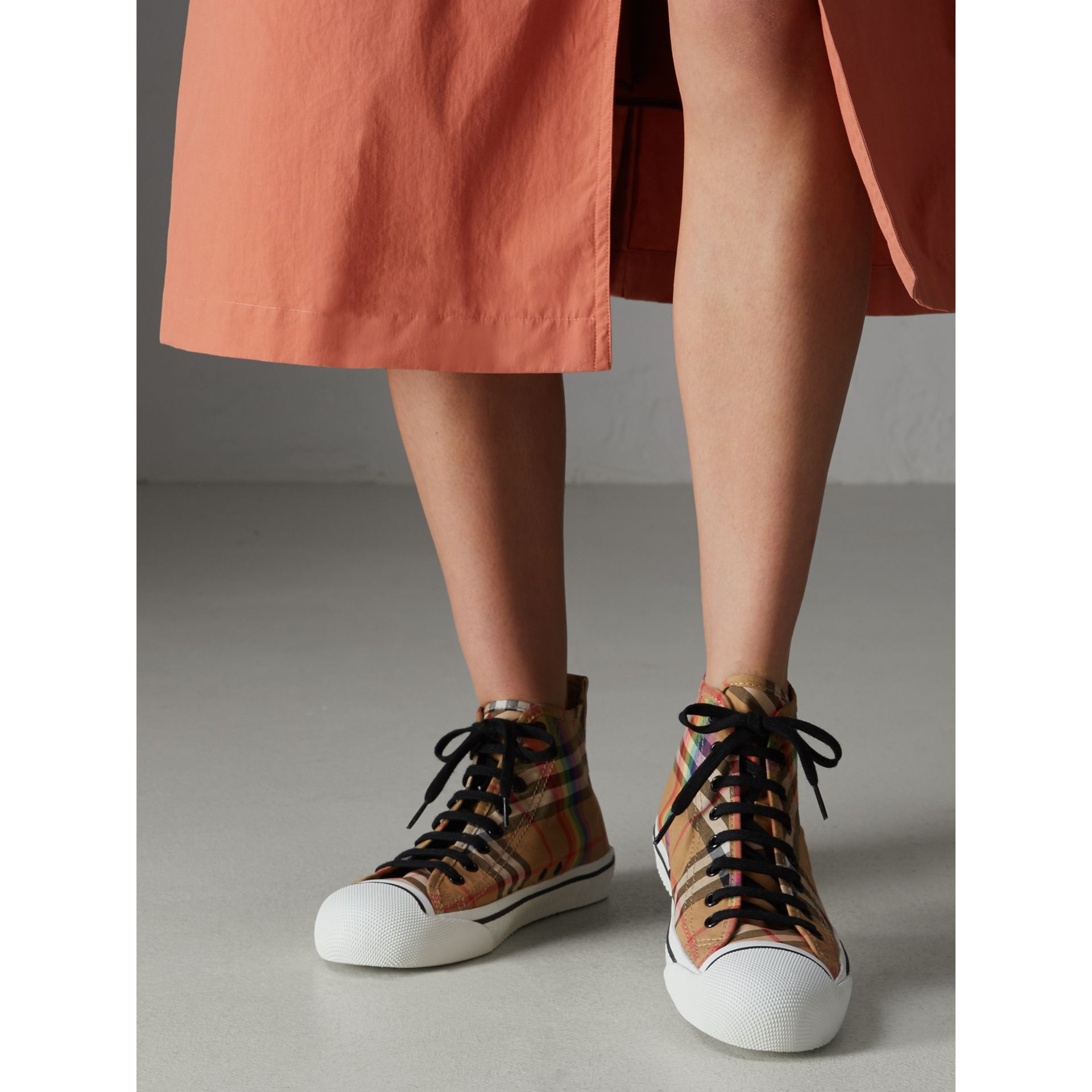 Rainbow Vintage Check High-top Sneakers in Antique Yellow | Burberry United States - gallery image 2