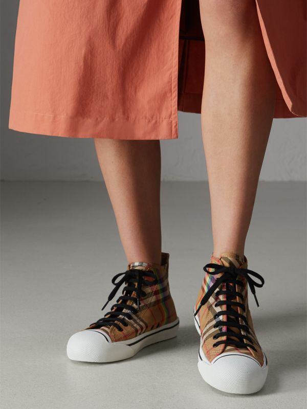 Rainbow Vintage Check High-top Sneakers in Antique Yellow | Burberry United States - cell image 2