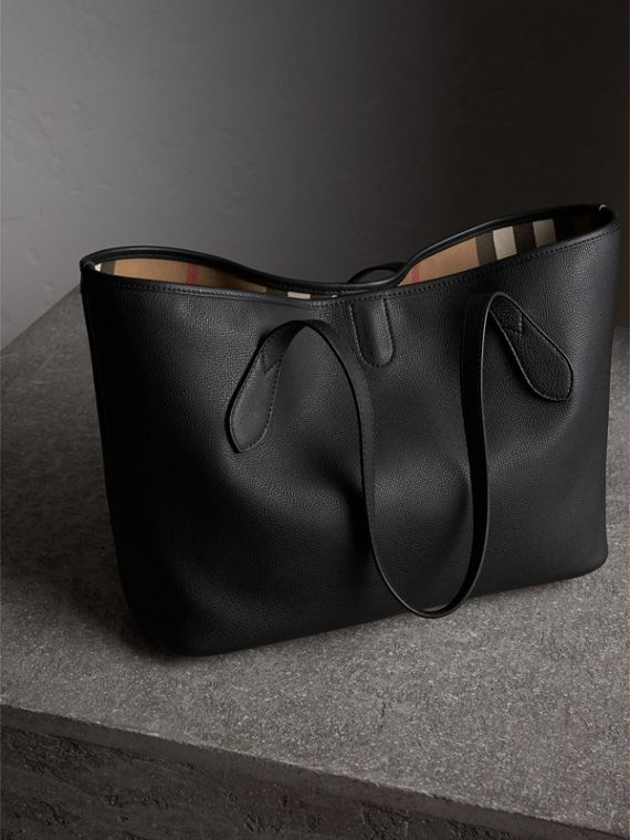 Medium Grainy Leather Tote Bag in Black - Women | Burberry United States - cell image 3