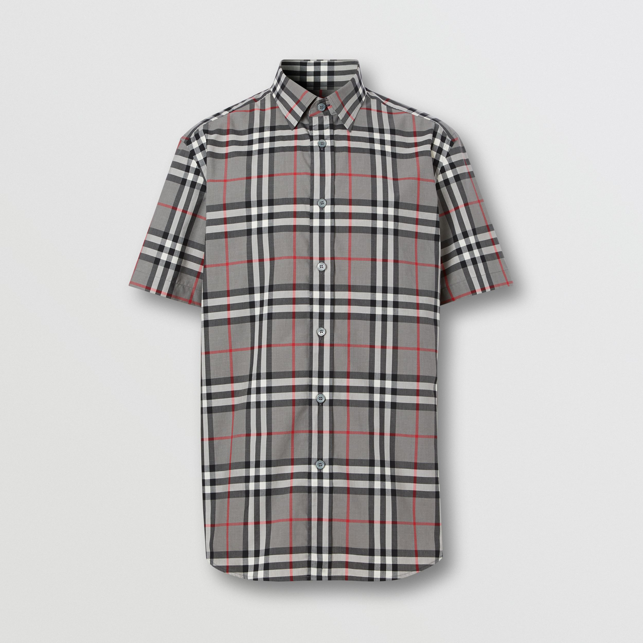 Short-sleeve Check Cotton Poplin Shirt in Storm Grey Melange - Men | Burberry - 4