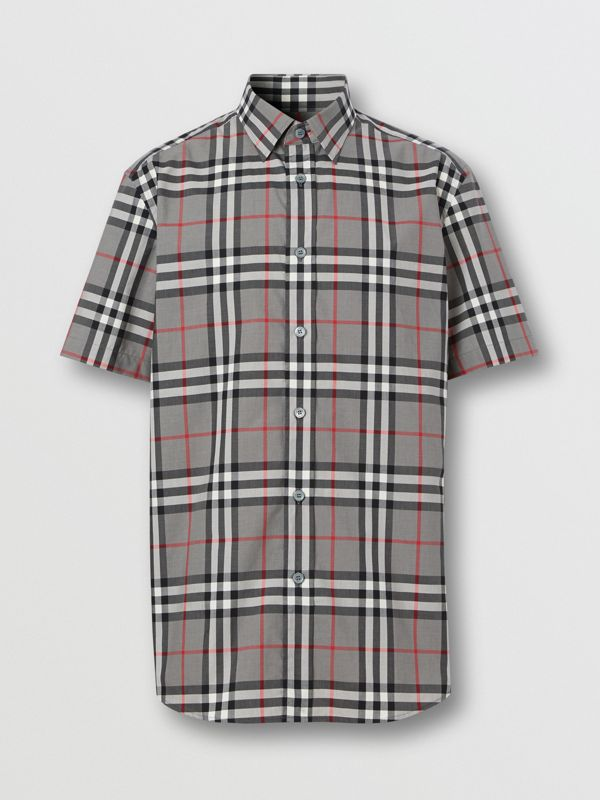 Short-sleeve Check Cotton Poplin Shirt in Storm Grey Melange - Men | Burberry United States - cell image 3