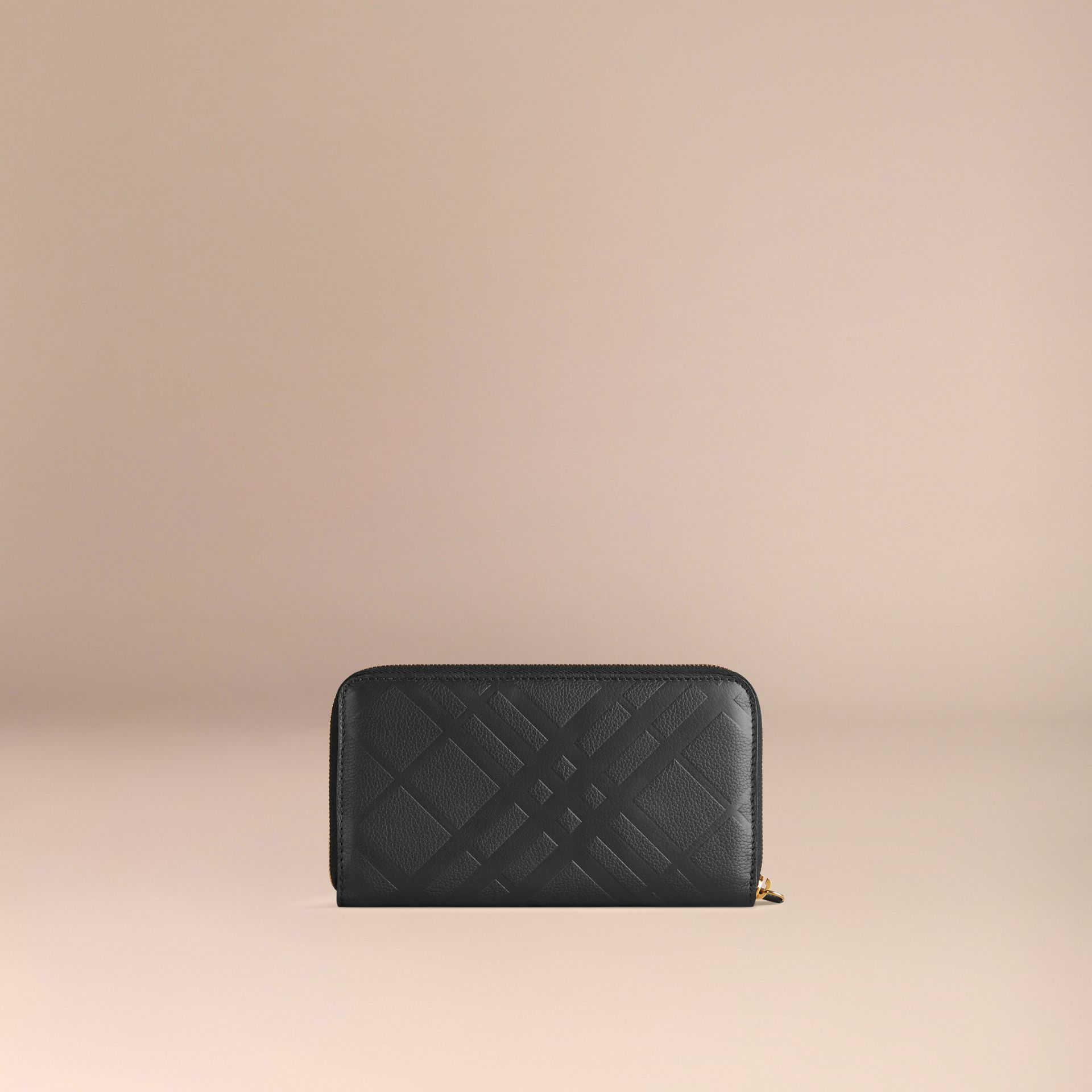 Black Embossed Check Leather Ziparound Wallet Black - gallery image 3