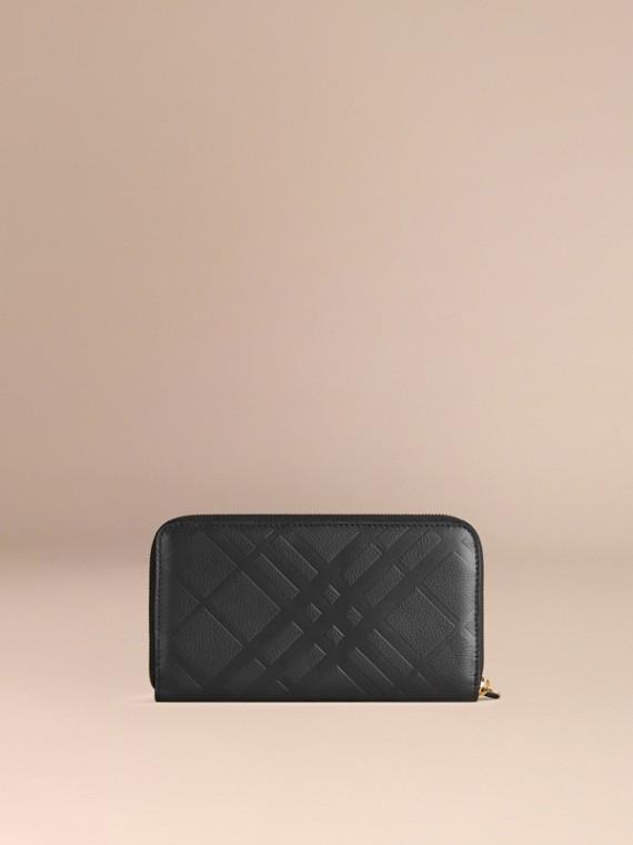 Noir Portefeuille à contour zippé en cuir à motif check estampé Noir - cell image 2