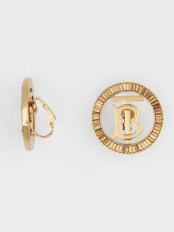 Crystal Detail Gold-plated Monogram Motif Earrings in Light Gold/crystal - Women | Burberry - cell image 3