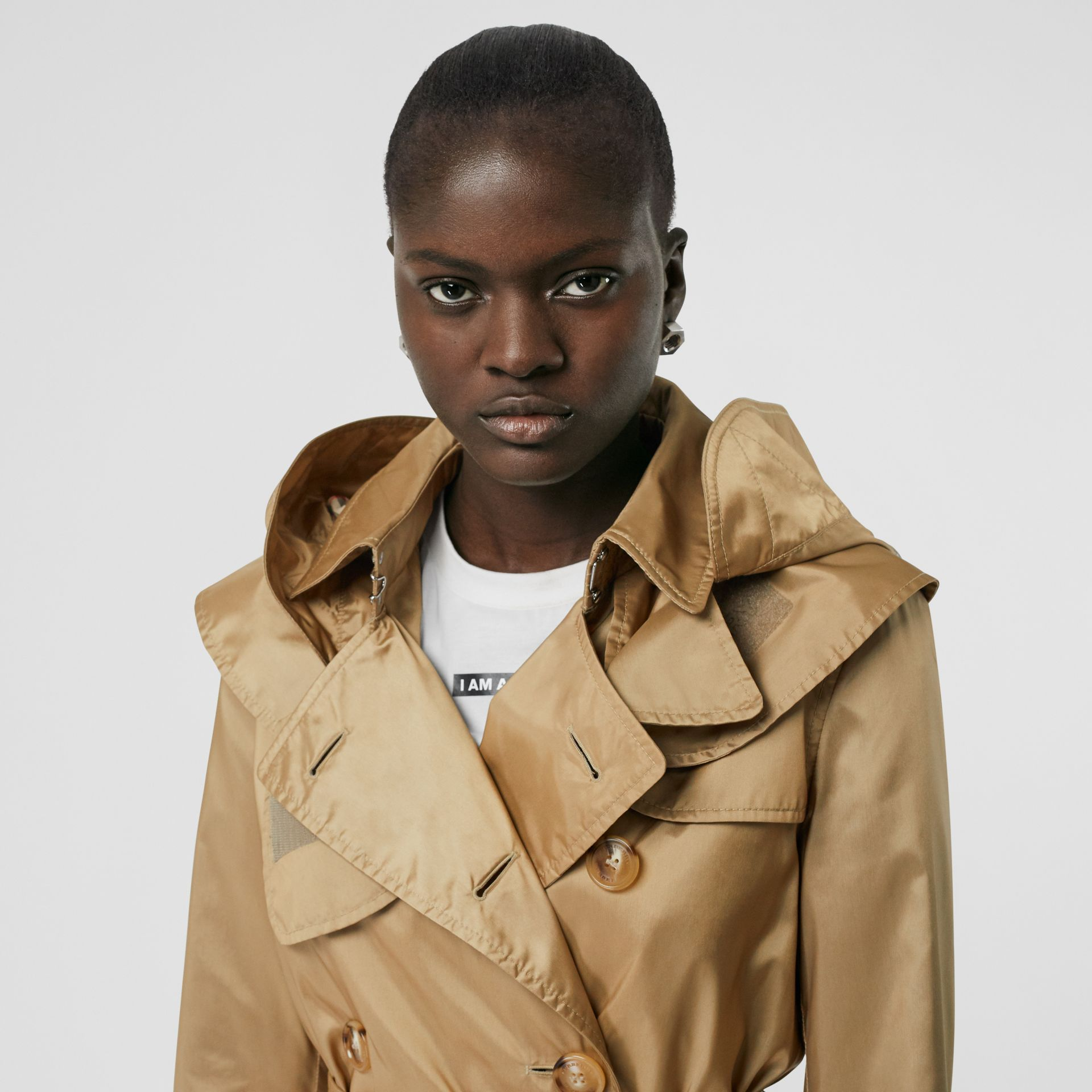Detachable Hood ECONYL® Trench Coat in Honey - Women | Burberry United Kingdom - gallery image 1