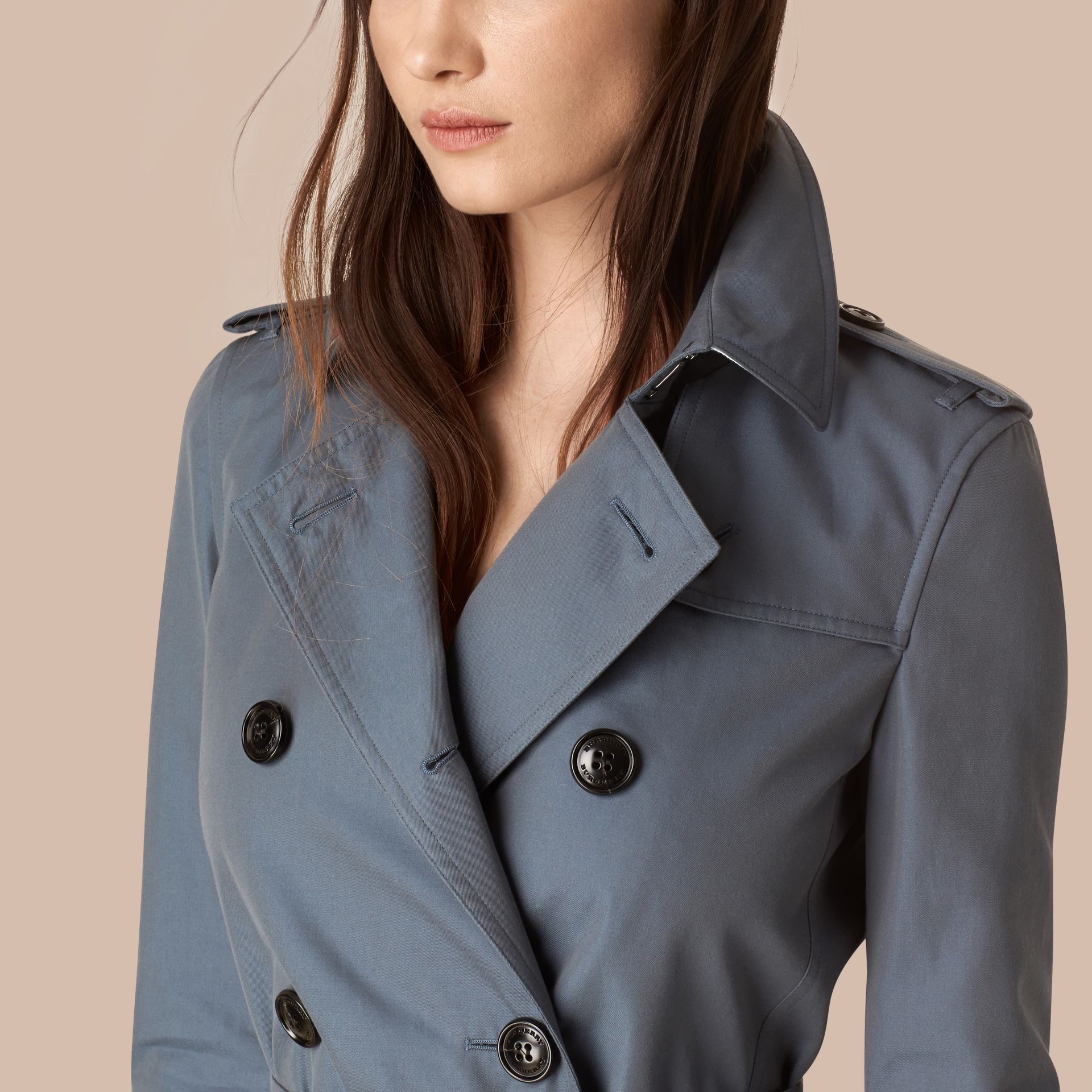 Empire blue Lightweight Cotton Gabardine Trench Coat Empire Blue - gallery image 2