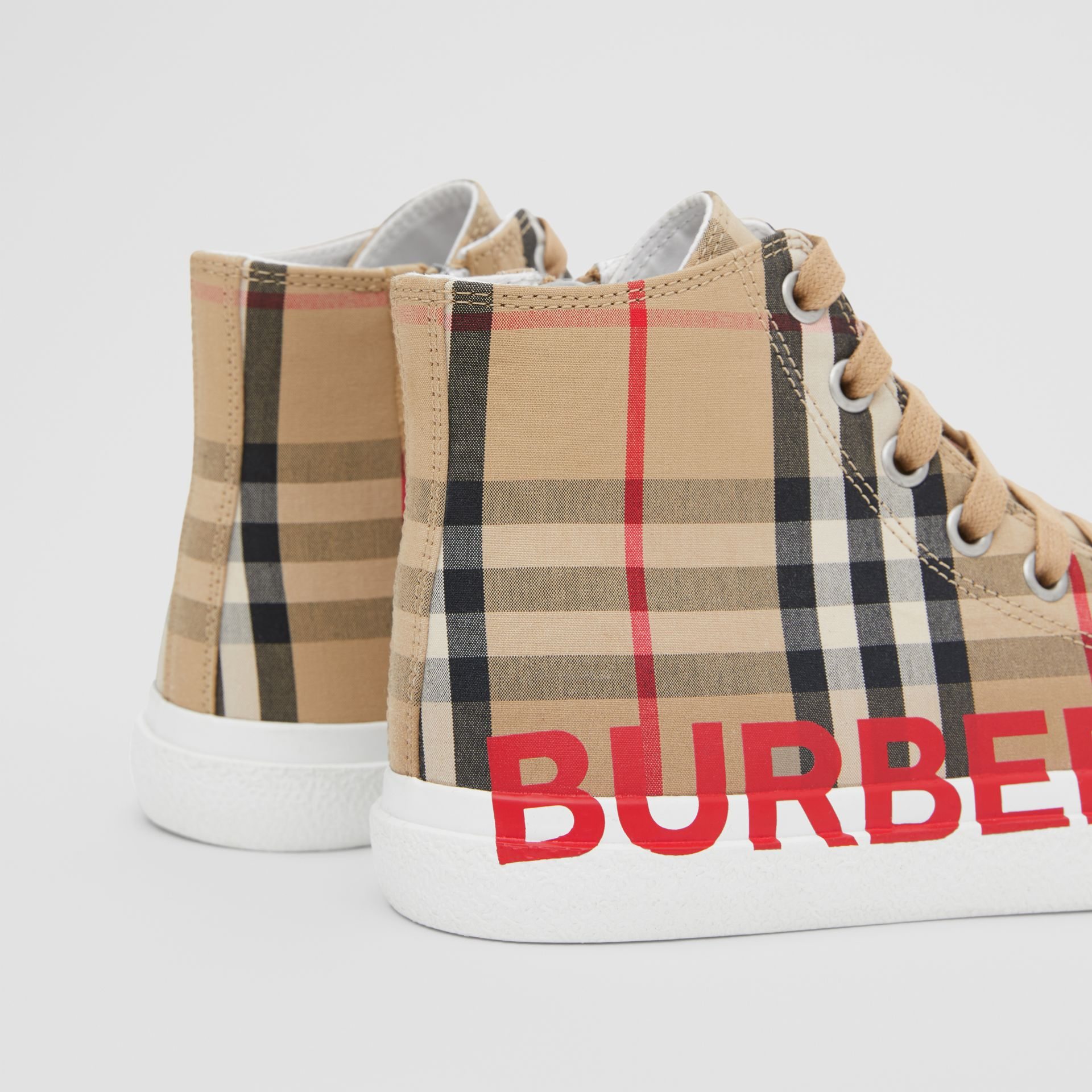 Logo Print Vintage Check High-top Sneakers in Archive Beige - Children | Burberry Hong Kong S.A.R - gallery image 1