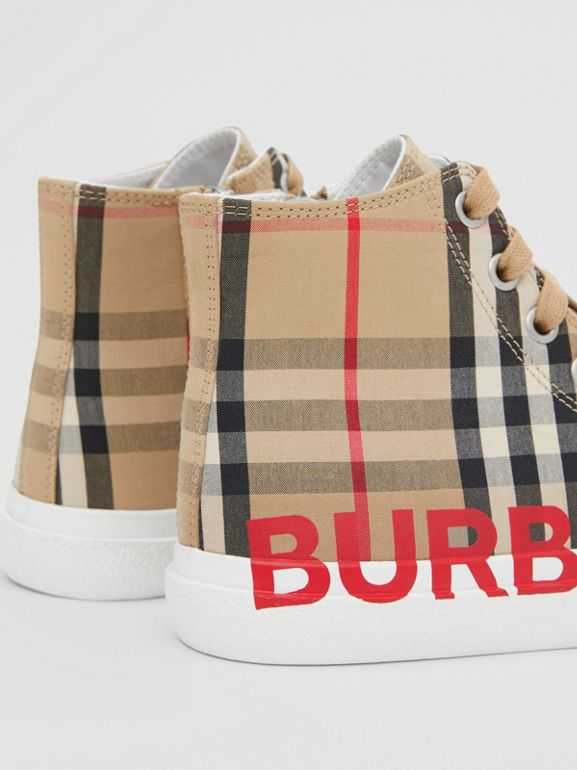 Logo Print Vintage Check High-top Sneakers in Archive Beige - Children | Burberry Hong Kong S.A.R - cell image 1
