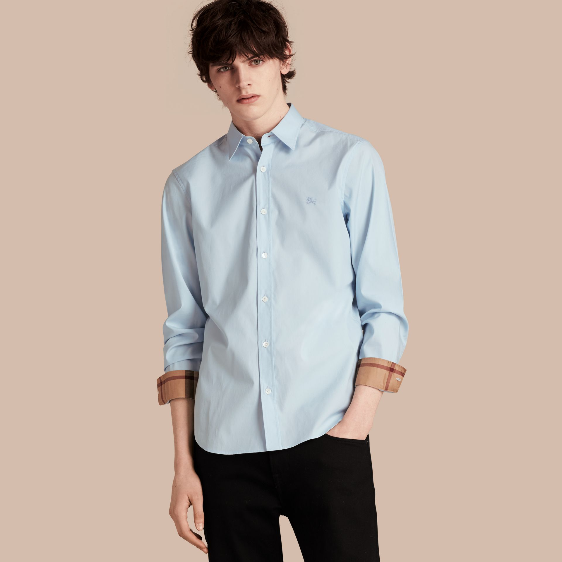Check Detail Stretch Cotton Poplin Shirt in Pale Blue - Men | Burberry - gallery image 1
