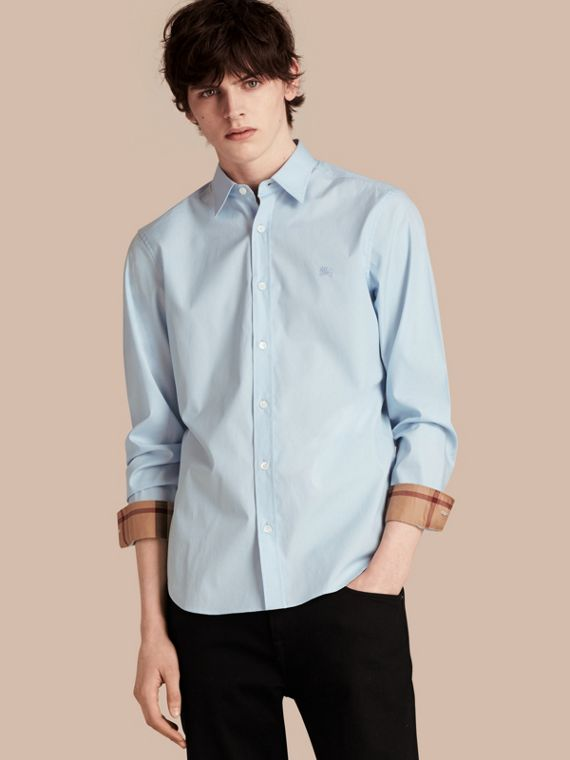 Check Detail Stretch Cotton Poplin Shirt Pale Blue