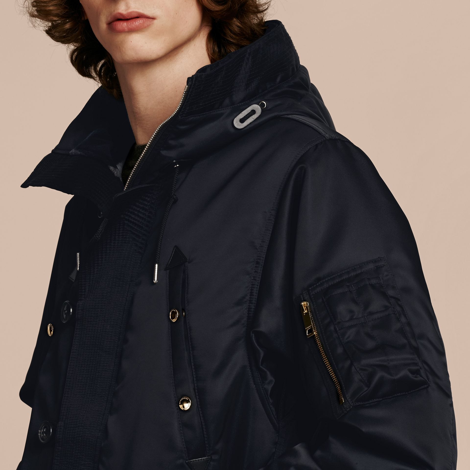 Navy Hooded Parka with Detachable Raccoon Trim - gallery image 6