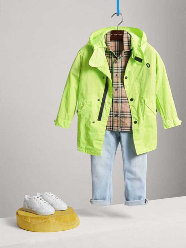 Detachable Hood Lightweight Parka Coat in Neon Yellow - Children | Burberry - cell image 2