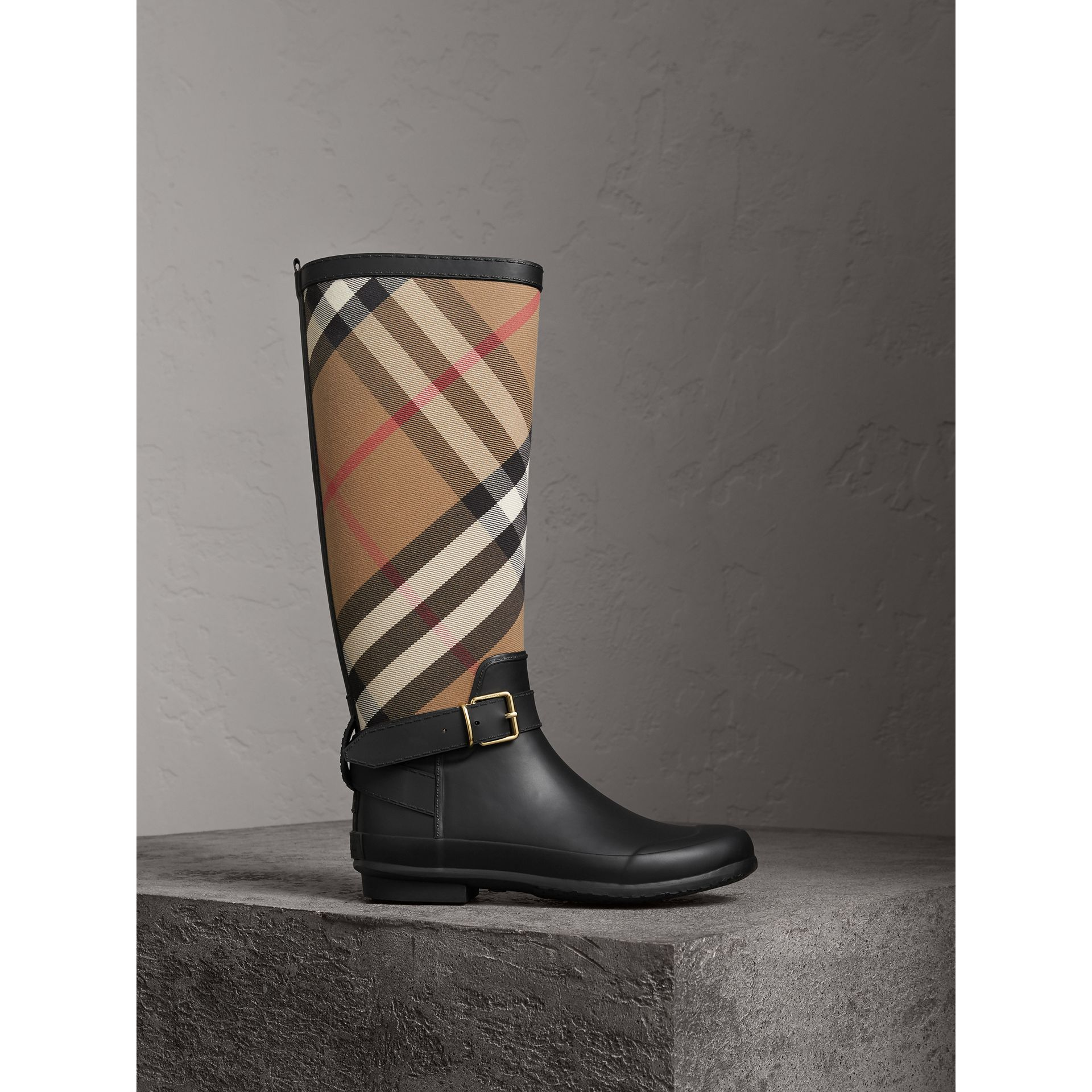 Belt Detail Check and Rubber Rain Boots in House Check/black - Women | Burberry - gallery image 0