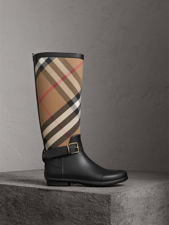 Belt Detail Check and Rubber Rain Boots in House Check/black