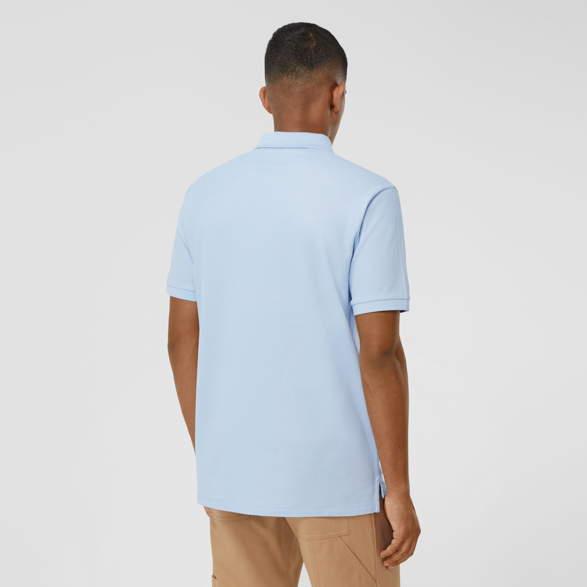 Swan and Slogan Appliqué Cotton Polo Shirt in Pale Blue - Men | Burberry - gallery image 2