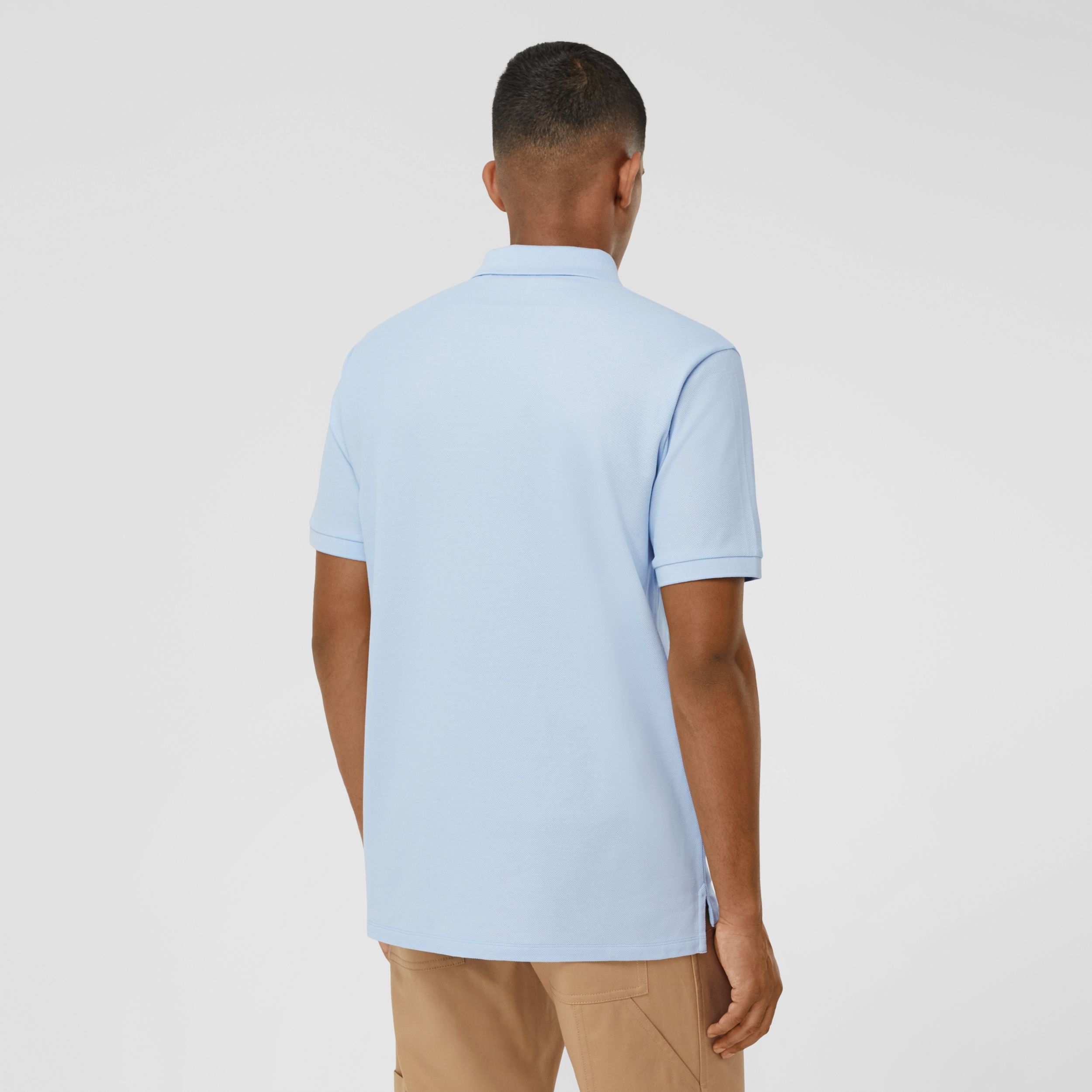 Swan and Slogan Appliqué Cotton Polo Shirt in Pale Blue - Men | Burberry - 3