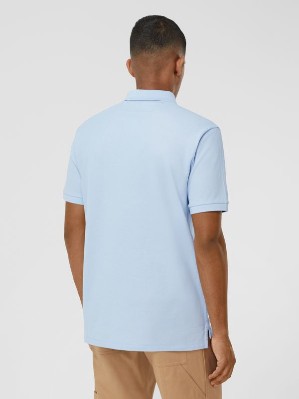 Swan and Slogan Appliqué Cotton Polo Shirt in Pale Blue - Men | Burberry - cell image 2