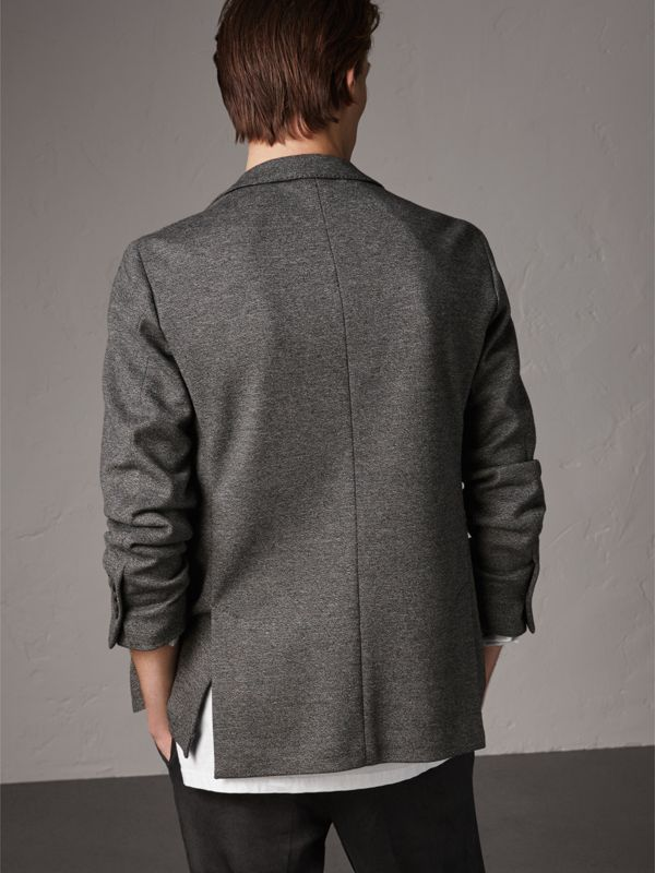Soho Fit Cotton Wool Jersey Tailored Jacket in Charcoal Melange - Men | Burberry - cell image 2