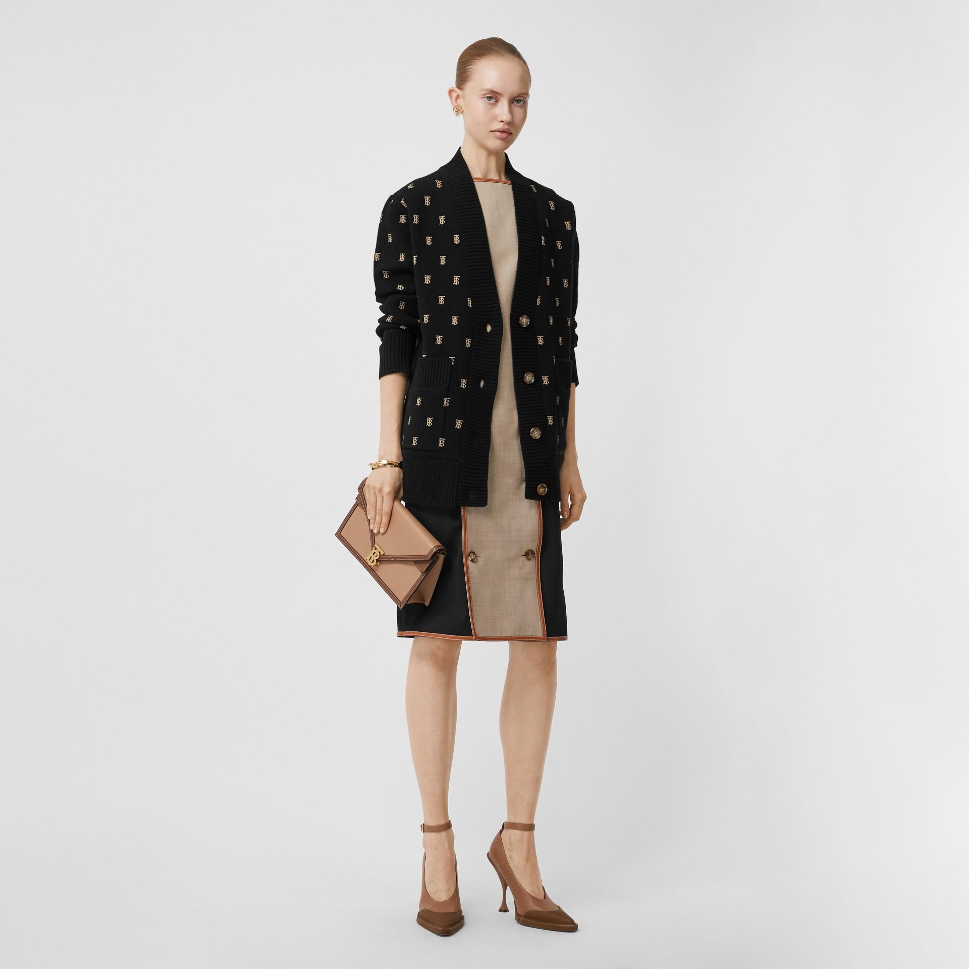 Monogram Wool Cashmere Blend Oversized Cardigan in Black - Women | Burberry - gallery image 5