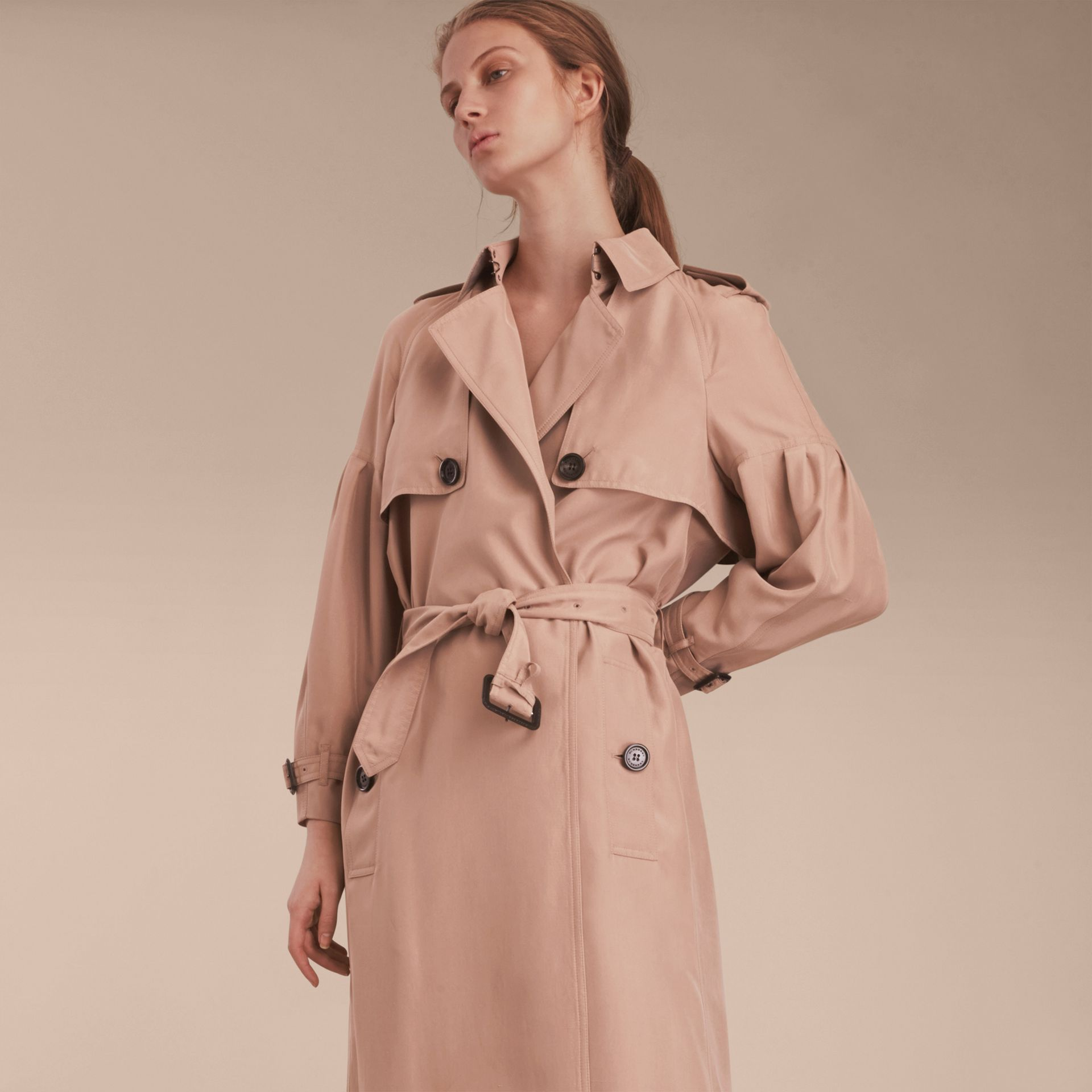 Oversize Silk Trench Coat with Puff Sleeves in Nude - gallery image 7