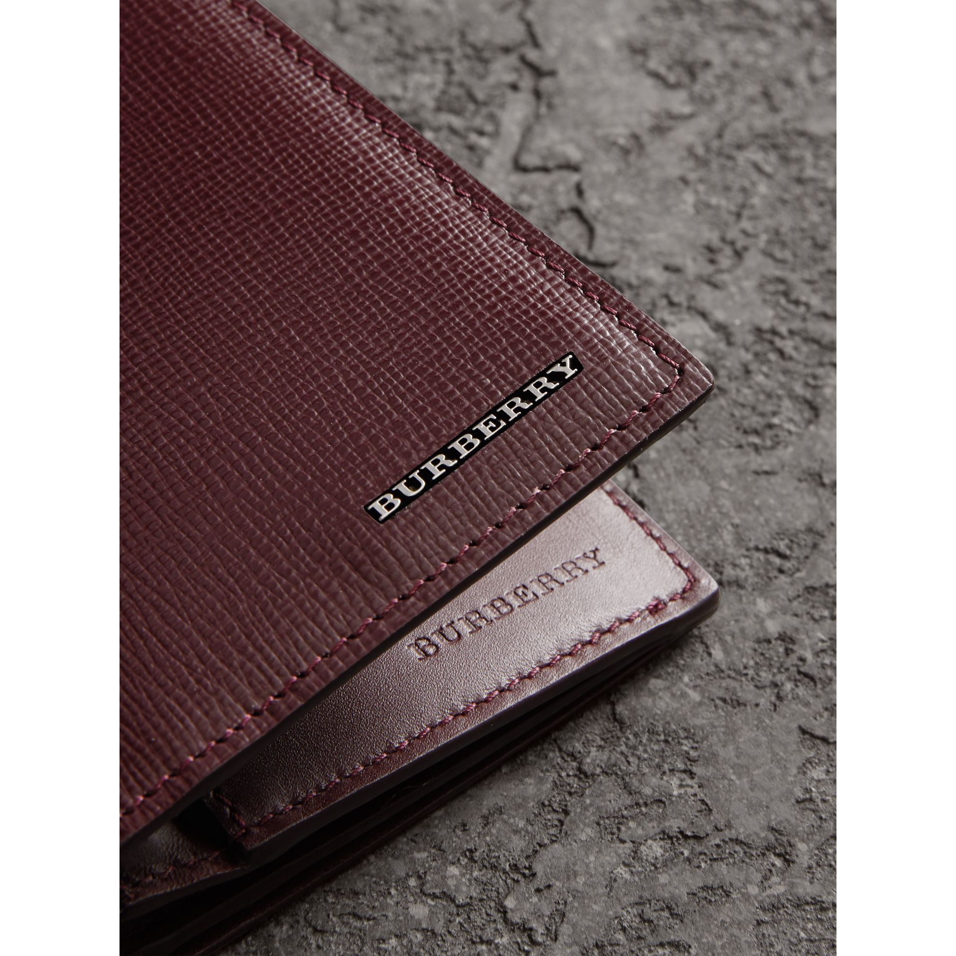 London Leather Continental Wallet in Burgundy Red - Men | Burberry Australia - gallery image 2