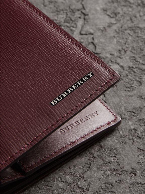 London Leather Continental Wallet in Burgundy Red - Men | Burberry Australia - cell image 1