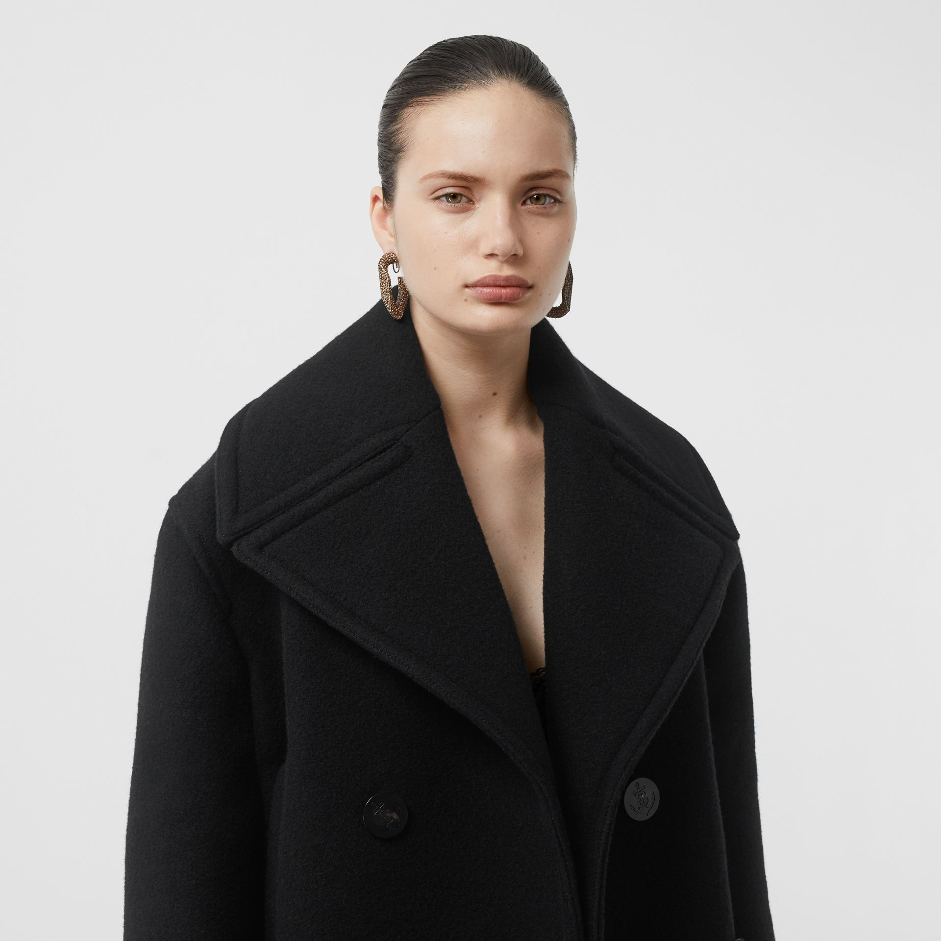 Wool Oversized Pea Coat in Black - Women | Burberry - gallery image 6