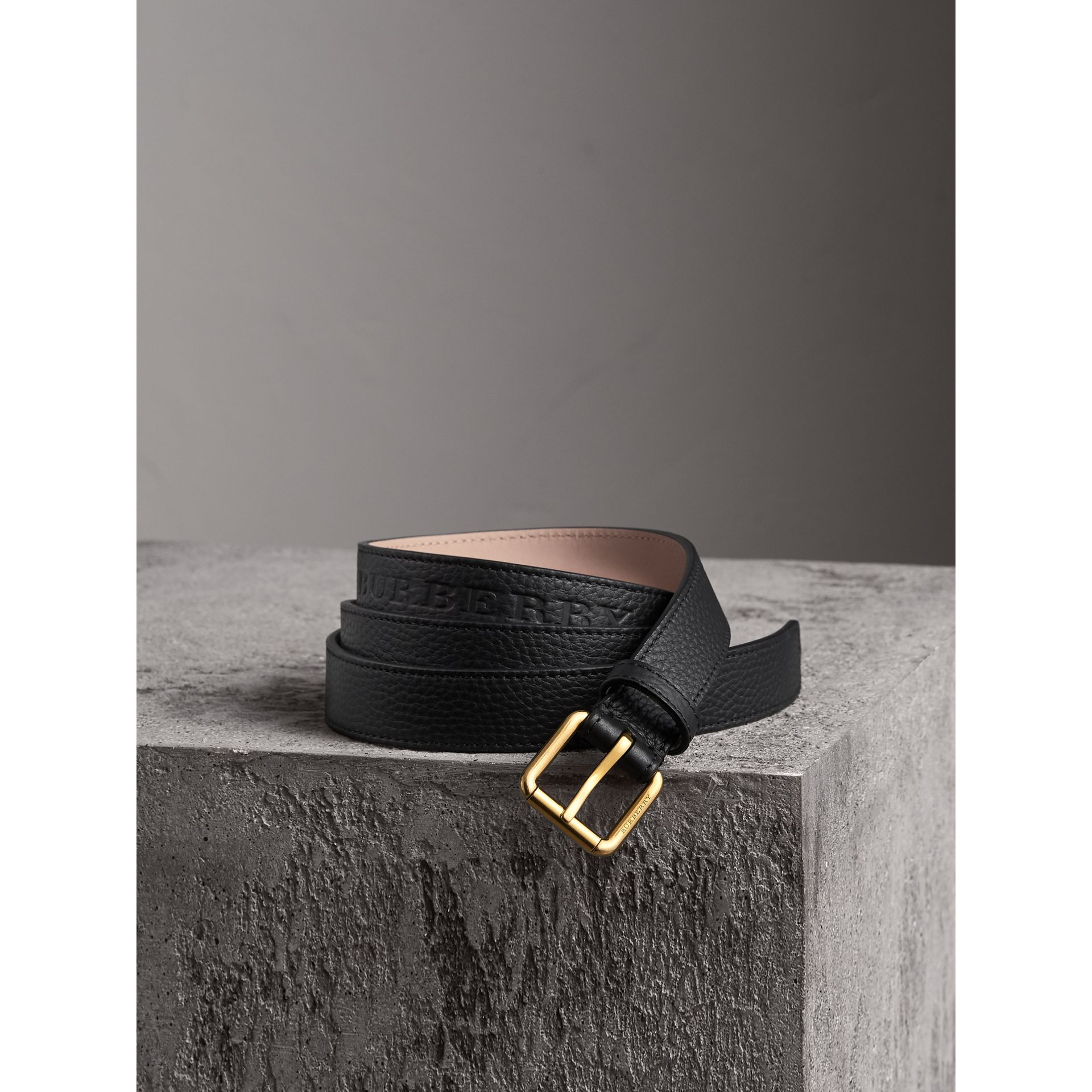 Embossed Leather Belt in Black - Women | Burberry - gallery image 1