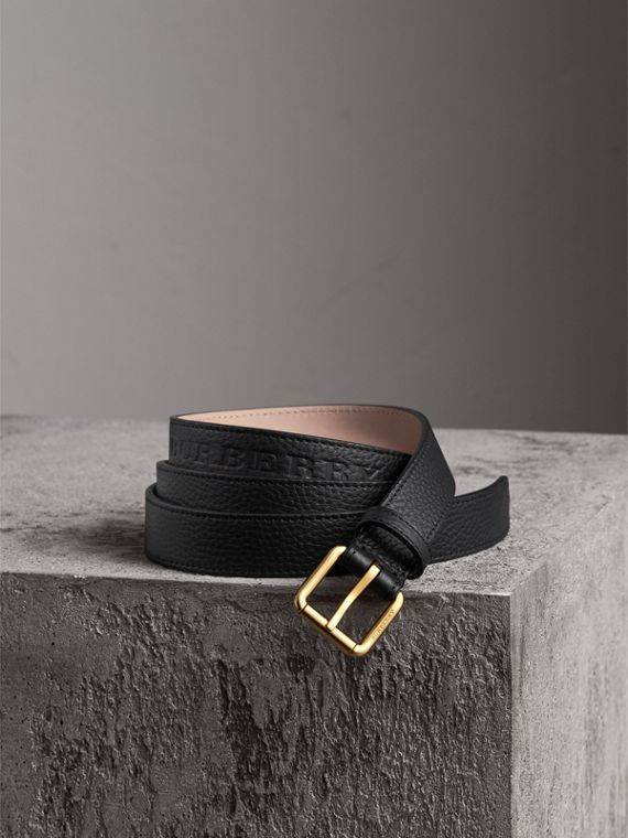 Embossed Leather Belt in Black