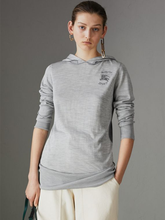 Embroidered Silk Cashmere Hoodie in Charcoal - Women | Burberry Australia - cell image 3