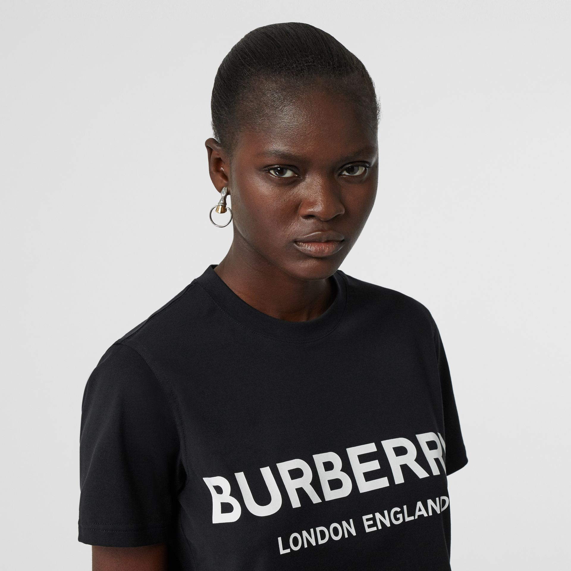 Logo Print Cotton T-shirt in Black - Women | Burberry - gallery image 1