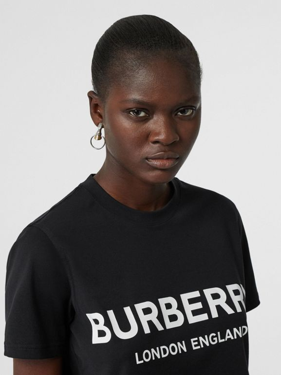 Logo Print Cotton T-shirt in Black - Women | Burberry - cell image 1
