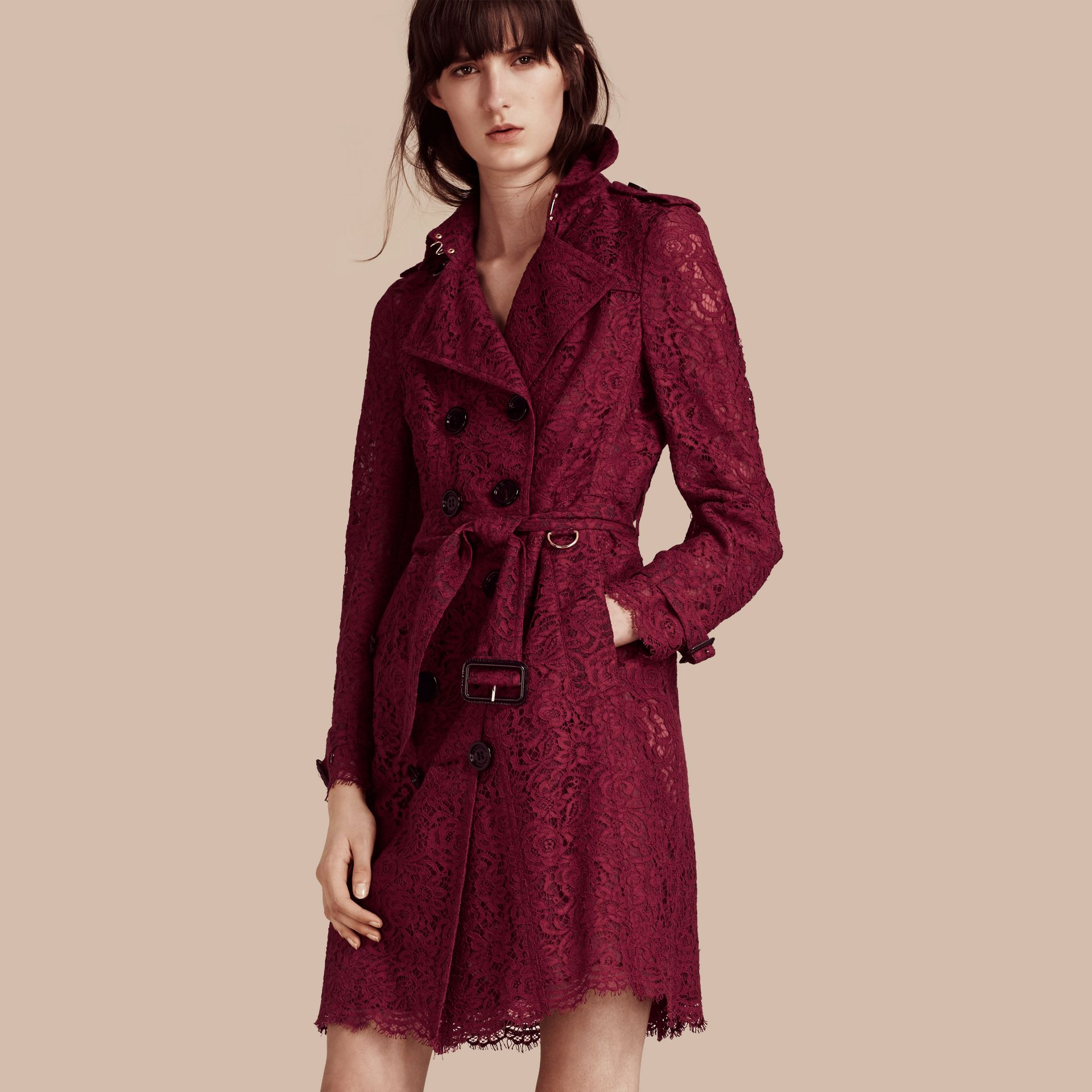Dark crimson Italian Lace Scallop-hem Trench Coat - gallery image 1