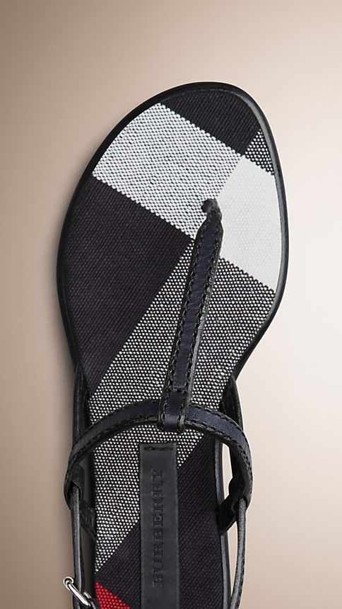 Navy Canvas Check and Leather Sandals - Image 4