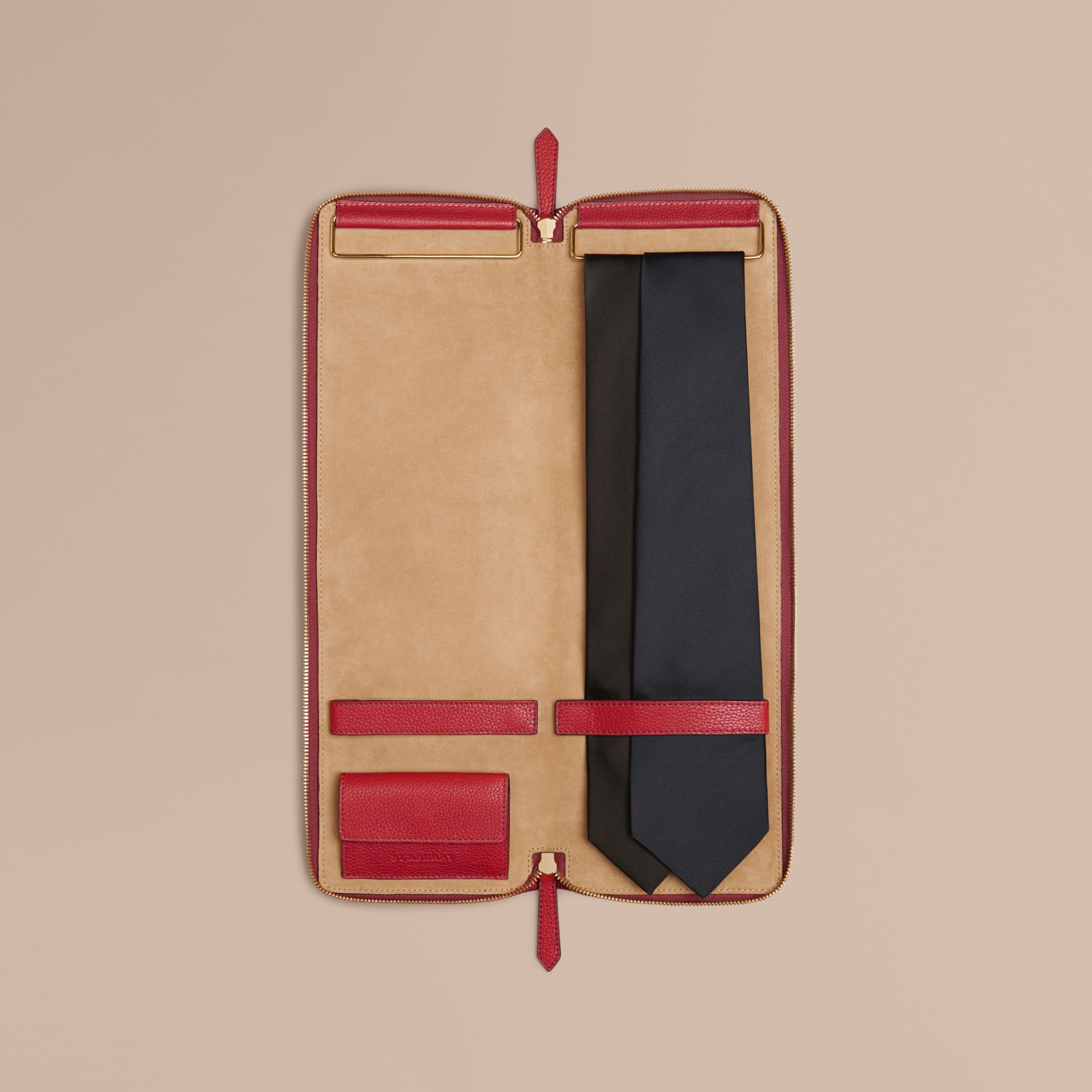 Parade red Grainy Leather Tie Case - gallery image 1