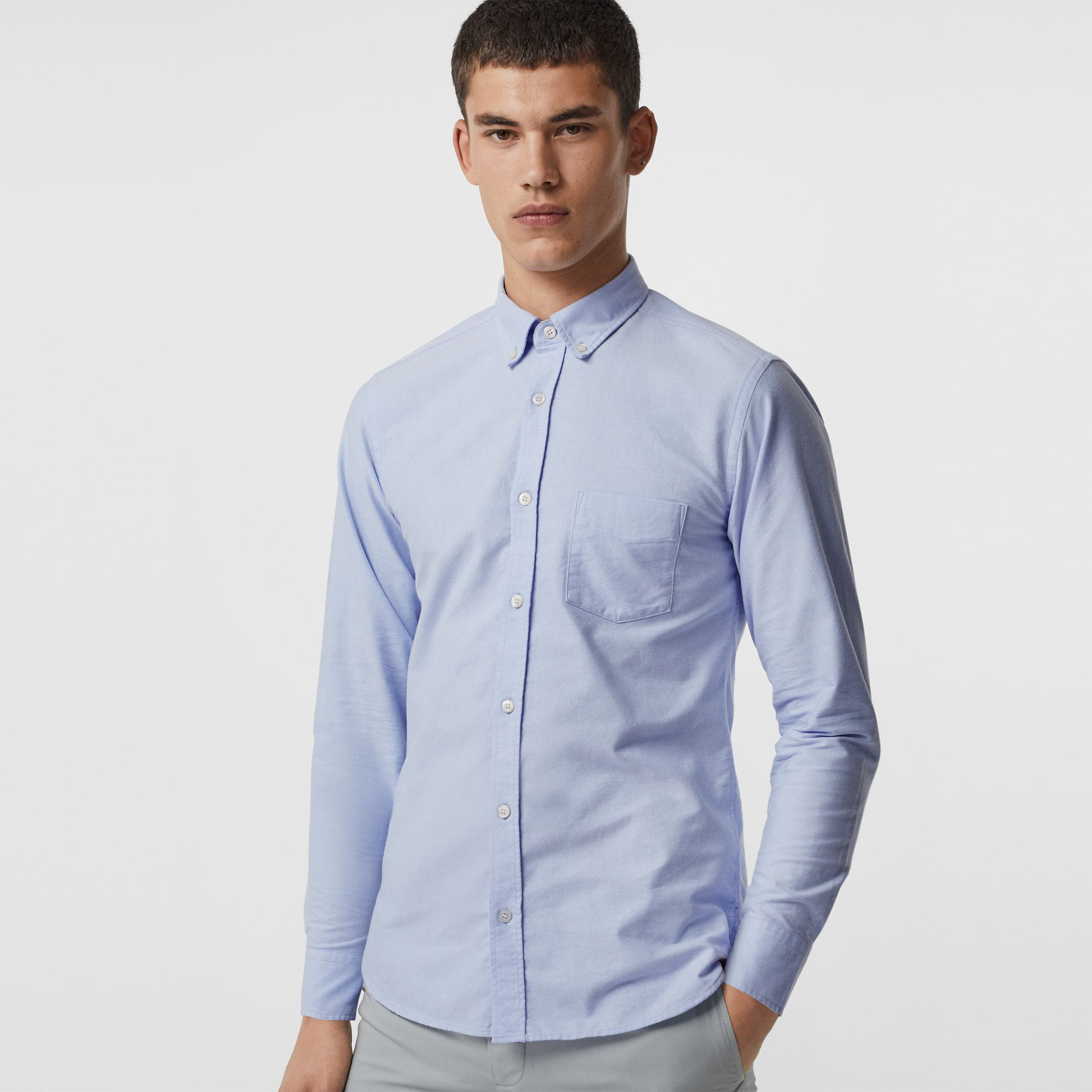 Check Cuff Cotton Oxford Shirt in Cornflower Blue - Men | Burberry Australia - gallery image 0