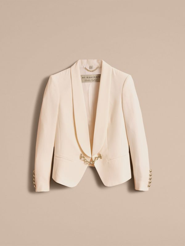 Silk Tuxedo Jacket with Chain Closure in Parchment - Women | Burberry - cell image 3