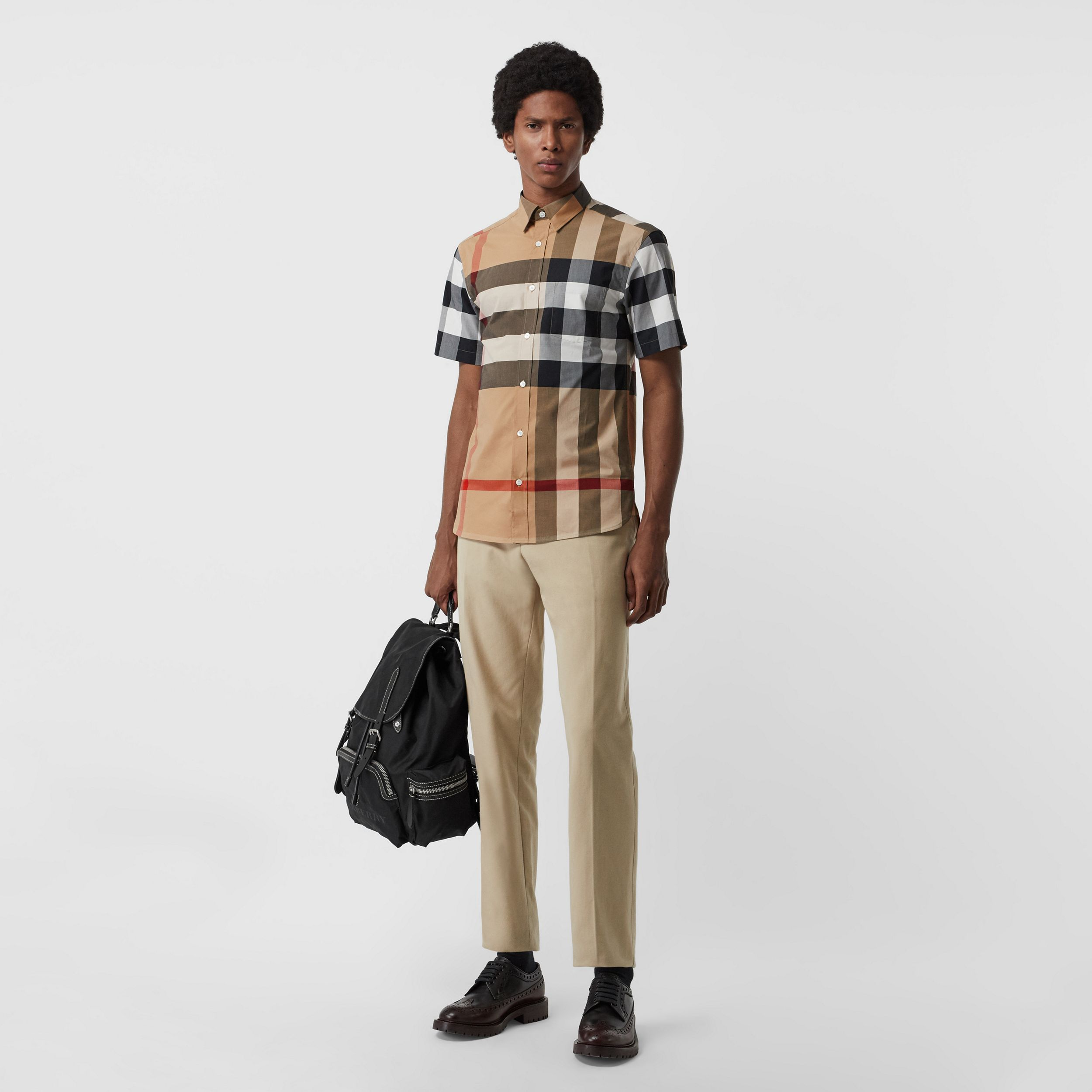 Short-sleeve Check Stretch Cotton Shirt in Camel - Men | Burberry - 1