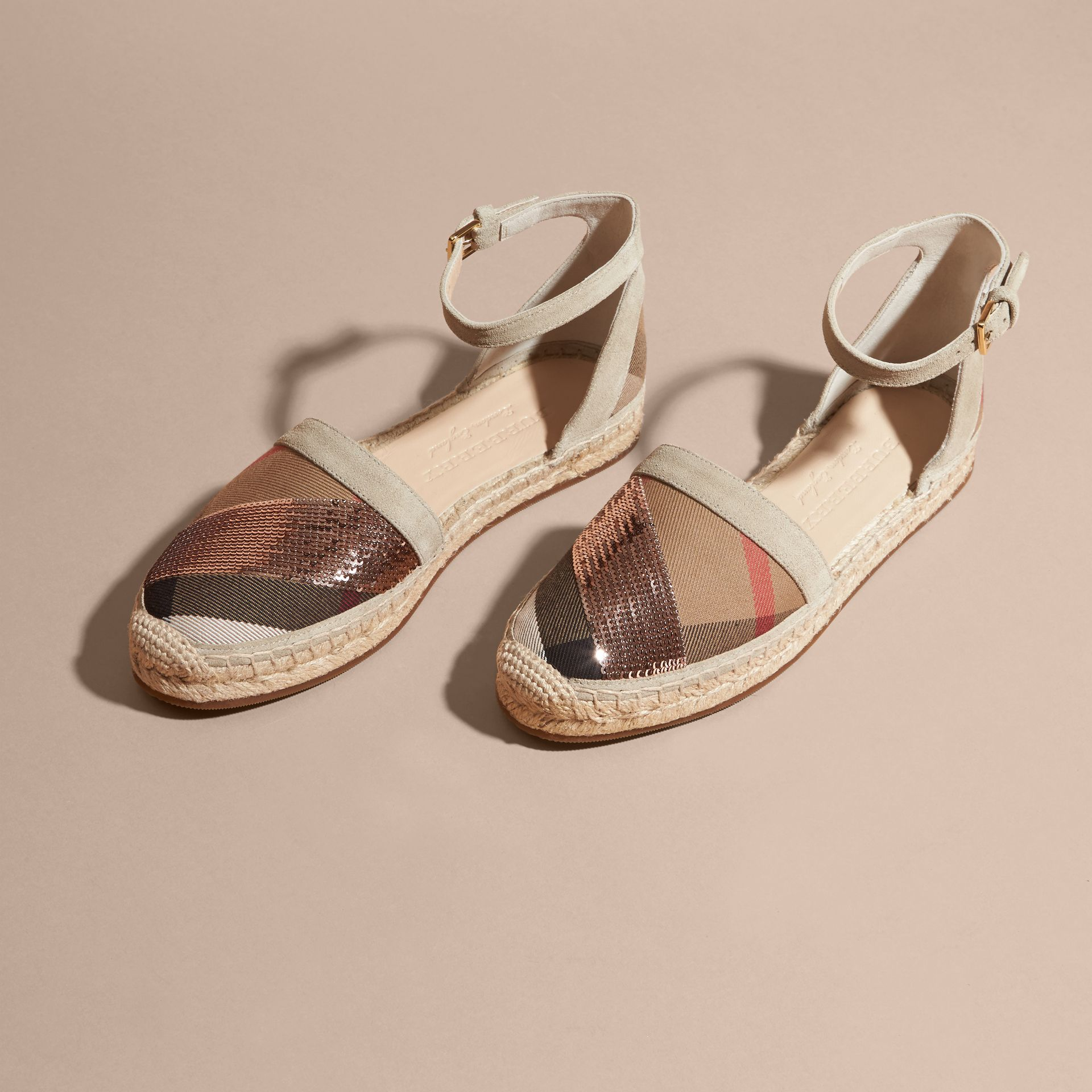 House check/pale pink Sequinned Leather and House Check Espadrille Sandals Check/pale Pink - gallery image 3