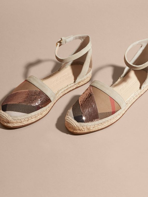 House check/pale pink Sequinned Leather and House Check Espadrille Sandals Check/pale Pink - cell image 2