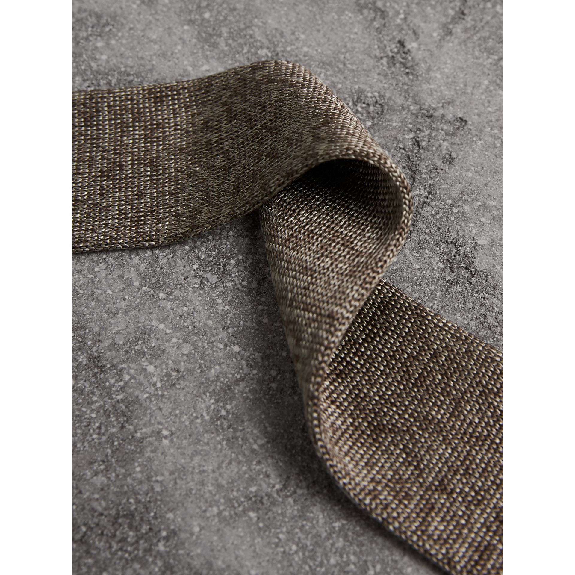 Slim Cut Knitted Silk Tie in Malt Brown - Men | Burberry - gallery image 2