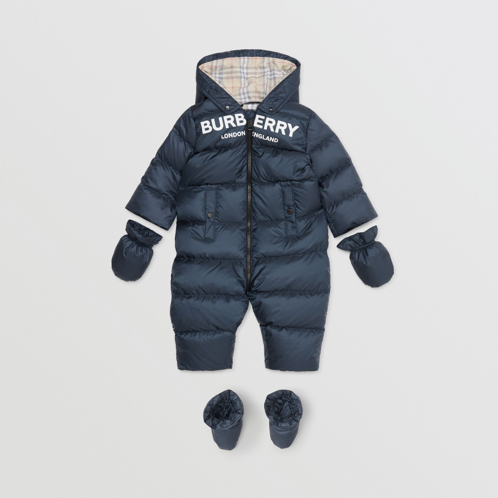 Logo Print Down-filled Puffer Suit in Navy - Children | Burberry United States - gallery image 6