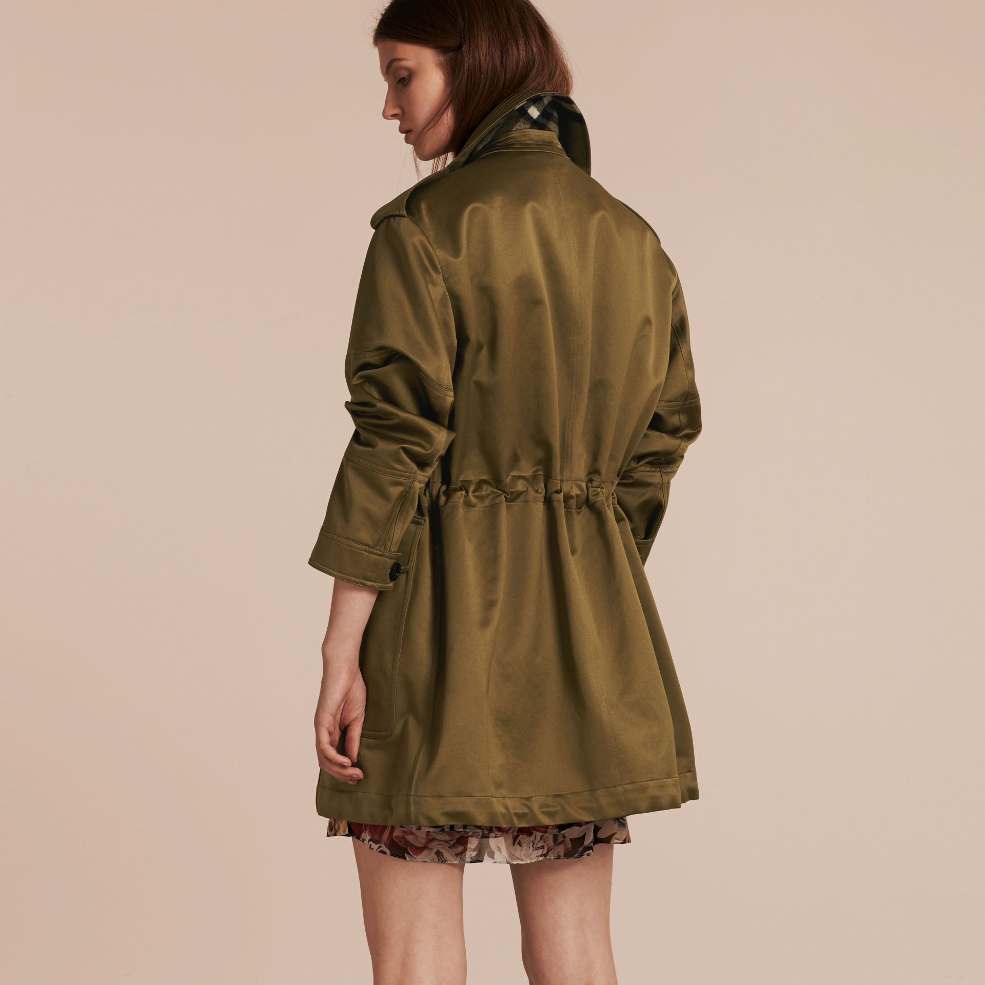 Olive Oversize Check Lined Cotton Field Jacket - gallery image 3
