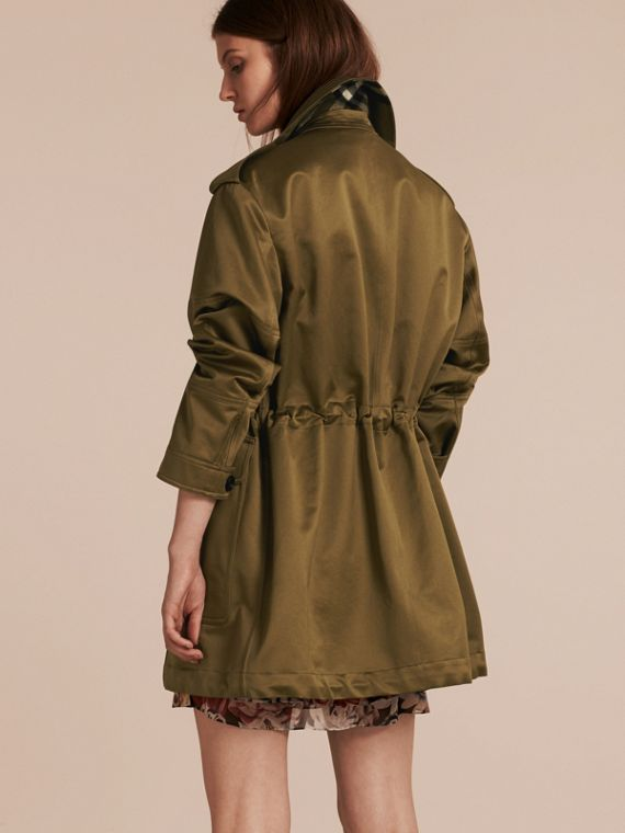 Olive Oversize Check Lined Cotton Field Jacket - cell image 2
