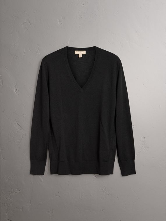 Check Detail Cashmere V-neck Sweater in Black - Women | Burberry Canada - cell image 3
